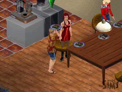 Complex scene of sim male with a plate of foot embedded in his head talking to female sim who is standing in the same spot as a chair.
